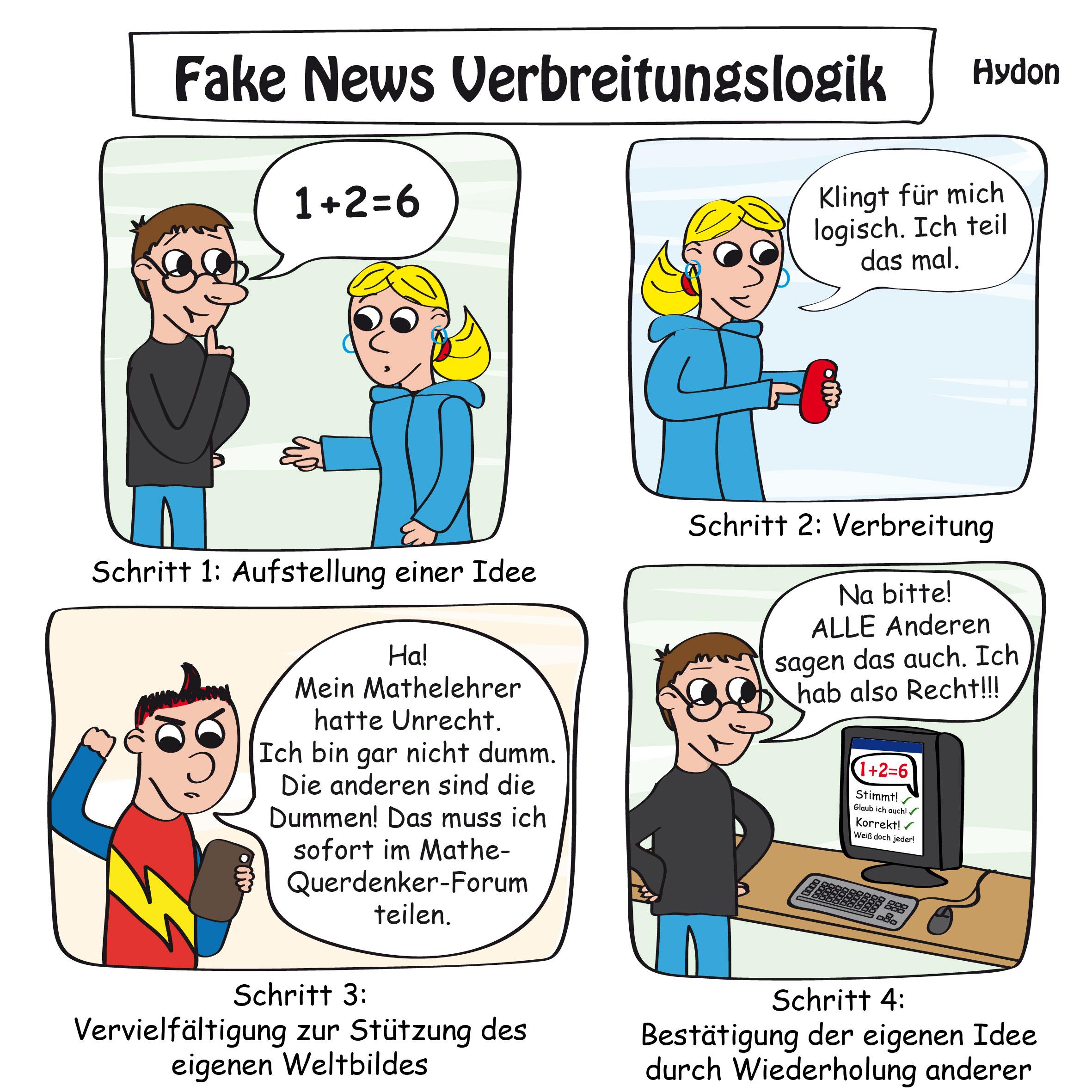 Cartoon zur absrden Fake News Verbreitungslogik